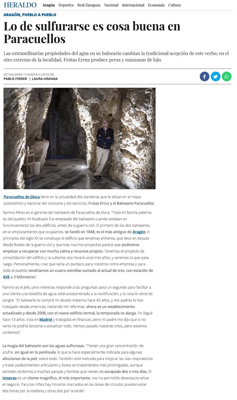 Balneario de Paracuellos en Heraldo de Aragón