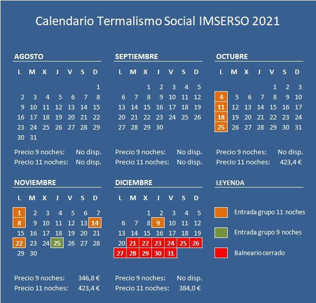 calendario imserso termalismo 2021