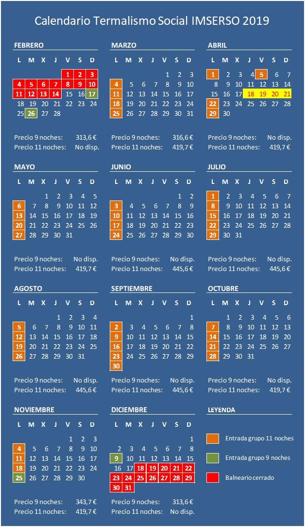 Calendario IMSERSO 2019