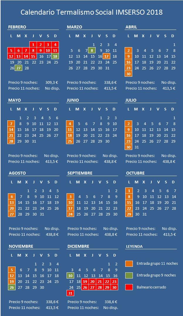Calendario IMSERSO 2018