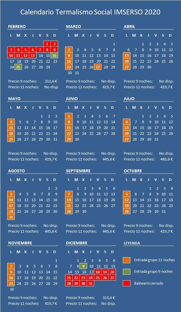 Calendario IMSERSO 2020