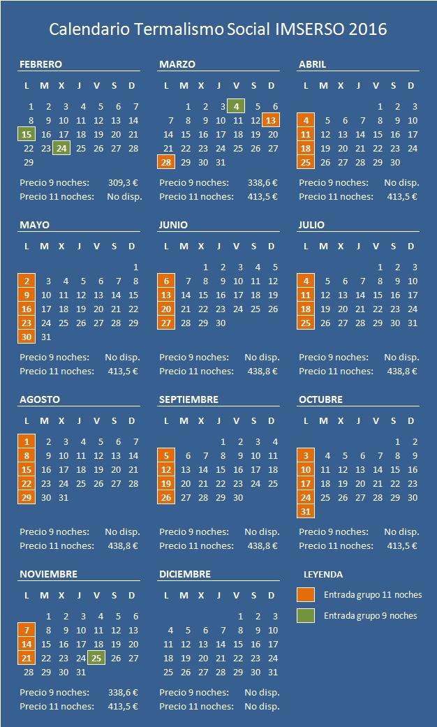 Calendario IMSERSO 2016