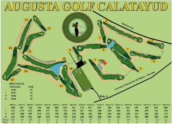Datos del campo Augusta Golf calatayud junto al balneario de Paracuellos